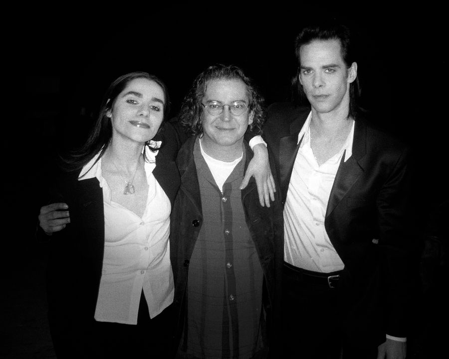 Rocky Schenck, Nick Cave, and  PJ Harvey photographed on the set of the music video Henry Lee, directed by Rocky Schenck