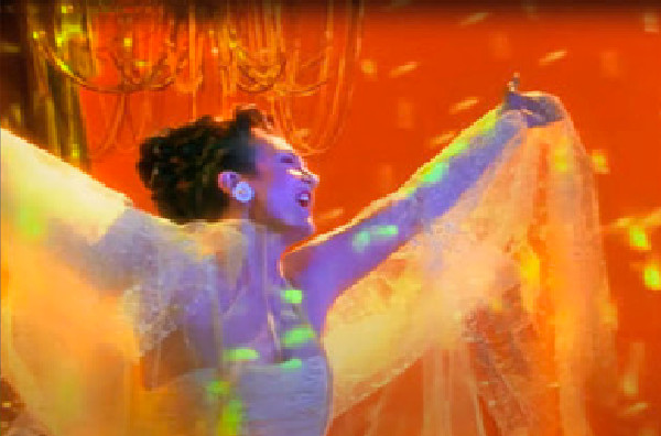 k.d. lang in the music video Miss Chatelaine, directed by Rocky Schenck
