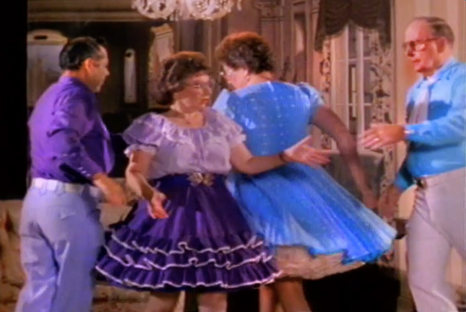 Toshi Kubota music video Dance If You Want It directed by Rocky Schenck.  Starring The Del Rubio Triplets, The Felix Twins, Square Dancers, Child Dancers.